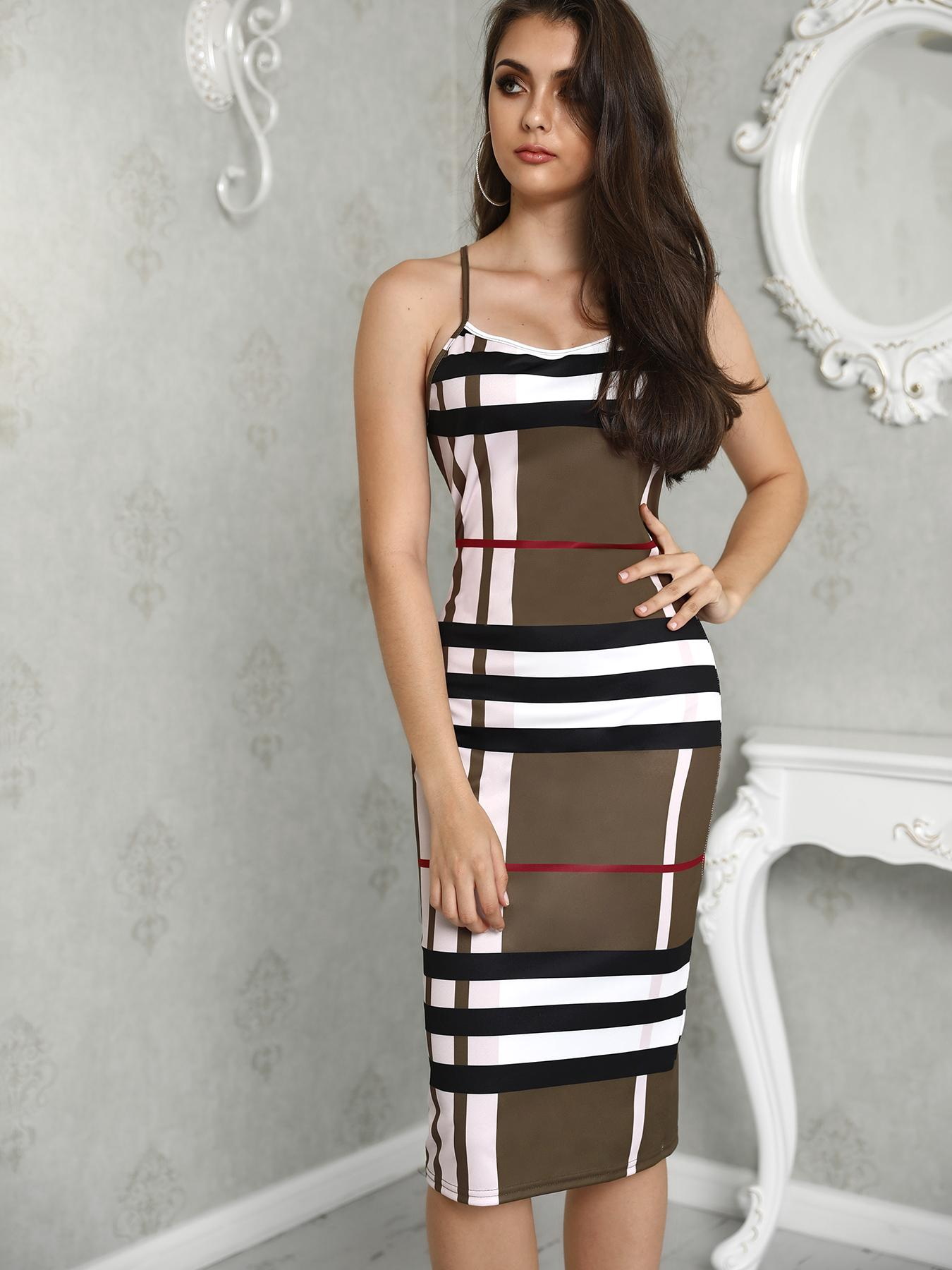 Spaghetti Strap Plaid Print Midi Dress