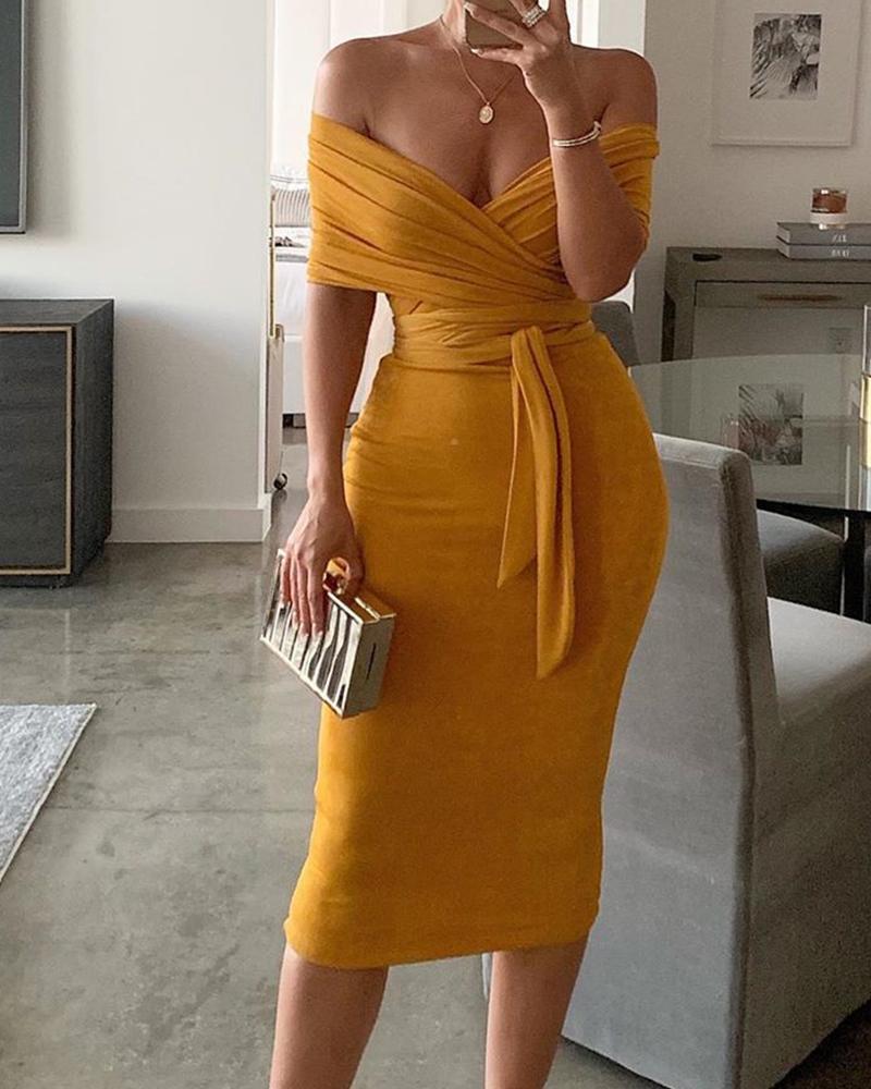 boutiquefeel / Sólido Fora do ombro Wrap Dress