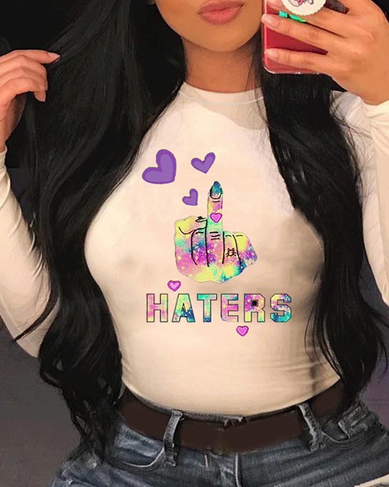 ivrose / Camiseta informal de manga larga con estampado de letras / corazones / lemas
