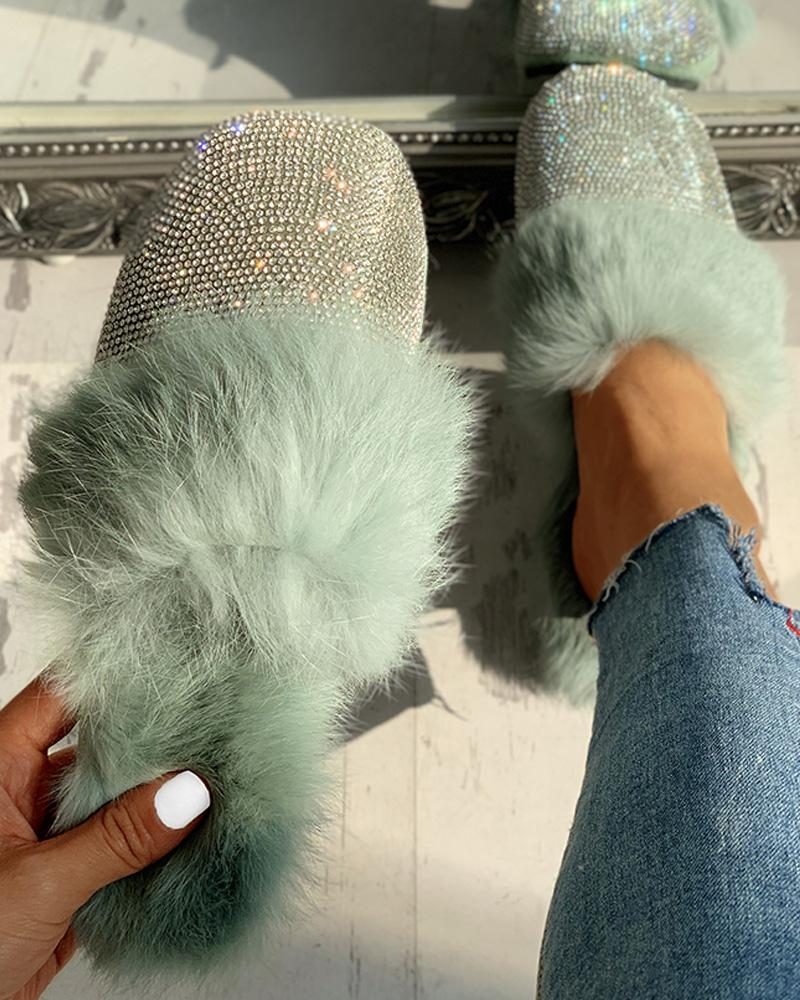 joyshoetique / Fluffy Glitter Sequins Flat Shoes