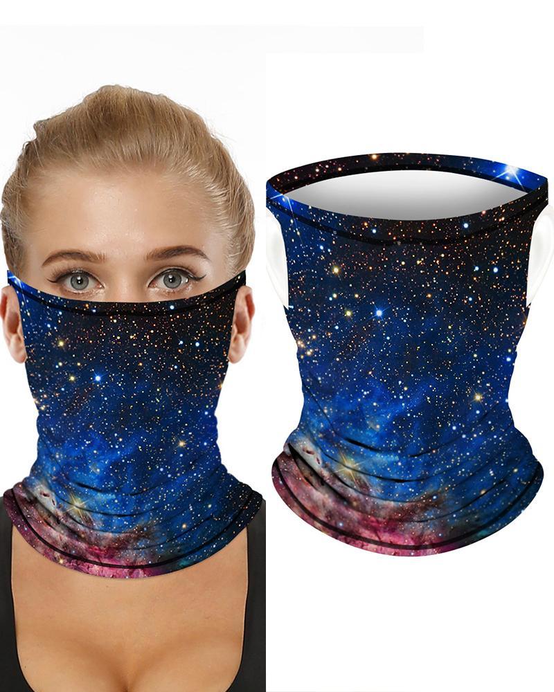 Sparkle Sky Print Breathable Ear Loop FaceBandana Headwrap фото