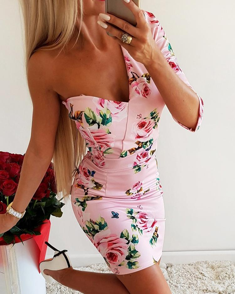 One Sleeve Floral Print Bodycon Dress