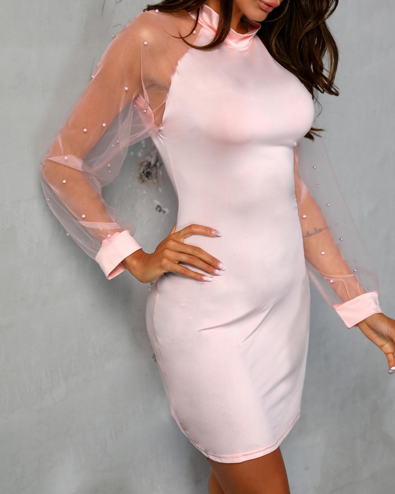 boutiquefeel / Vestido ajustado con detalle de abalorios y detalles de malla transparente