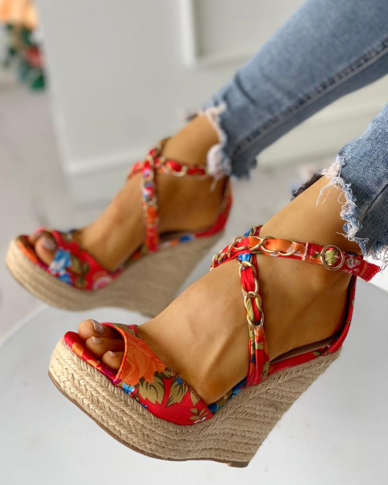 Floral Chain Detail Platform Wedge Sandals, joyshoetique, red  - buy with discount