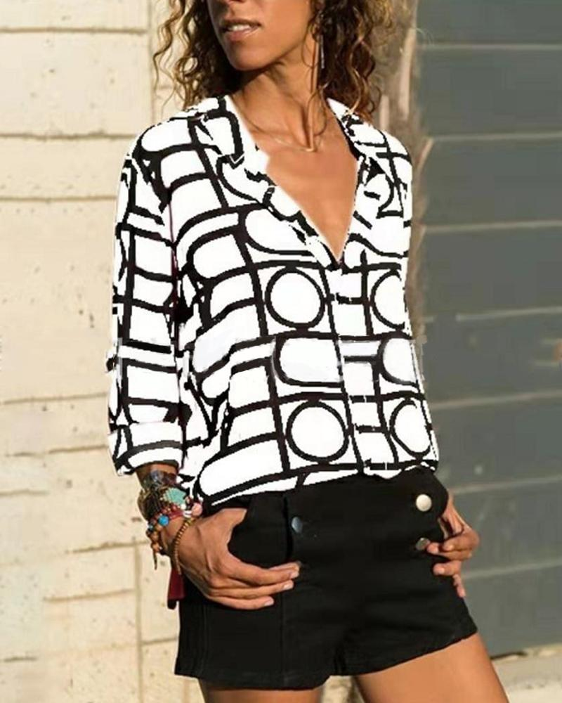 Casual Grid Blouse Top фото