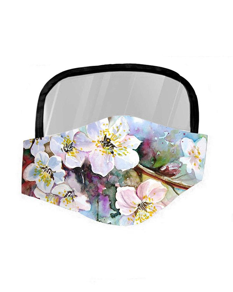 Floral Print Breathable Mouth Mask With Eyes Shield фото