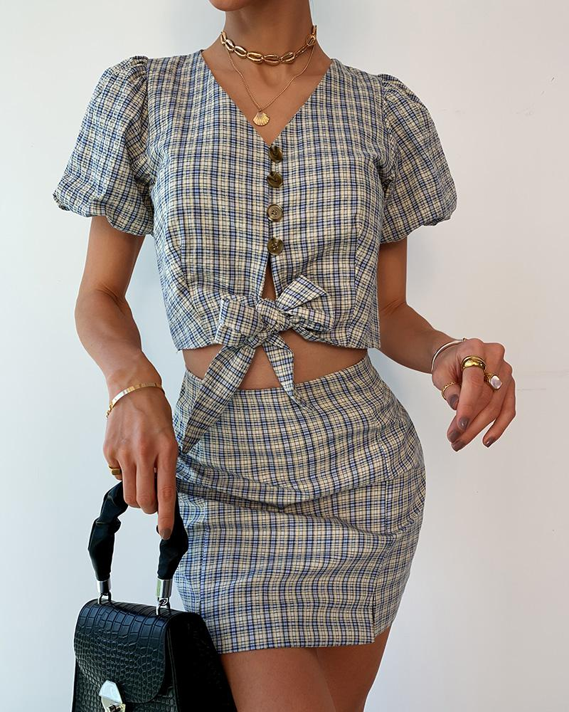 Tweed Tie Front Button Design Crop Top & Slit Skirt Sets фото