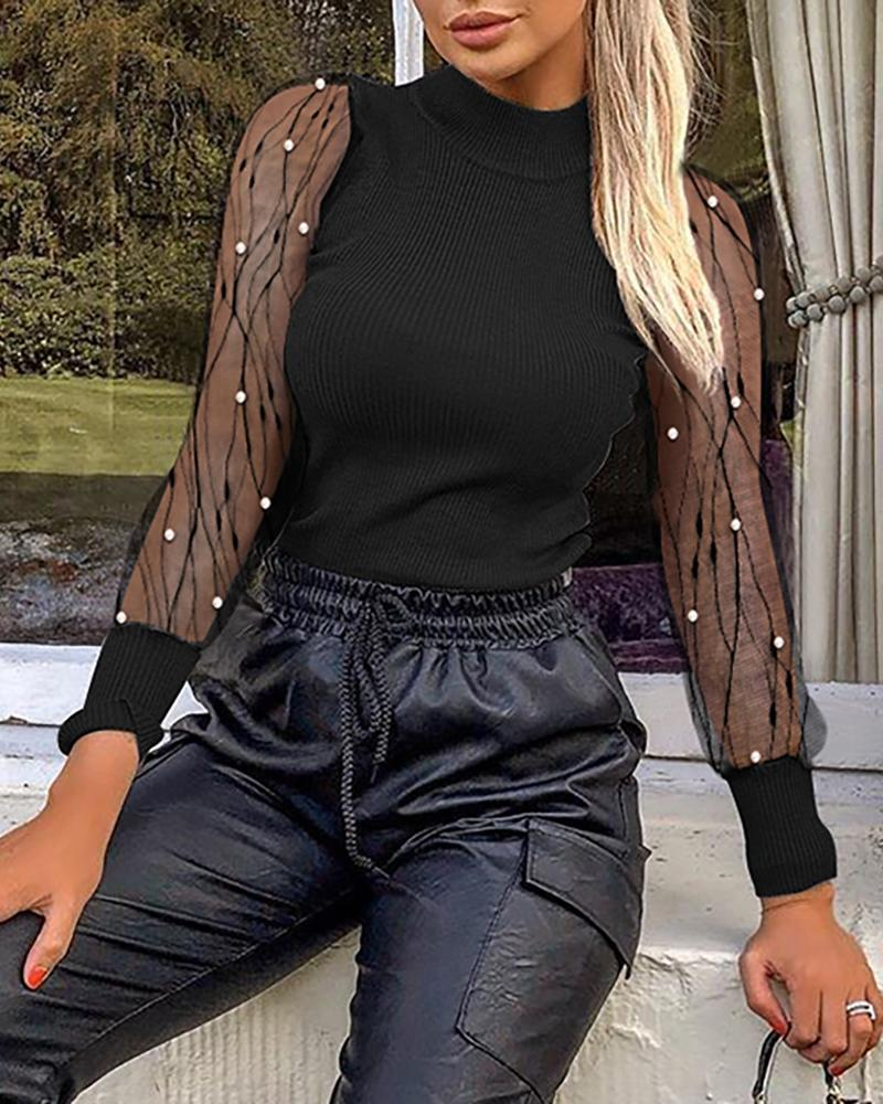 Solid Mesh Patchwork See Through Beaded Detail Blouse фото