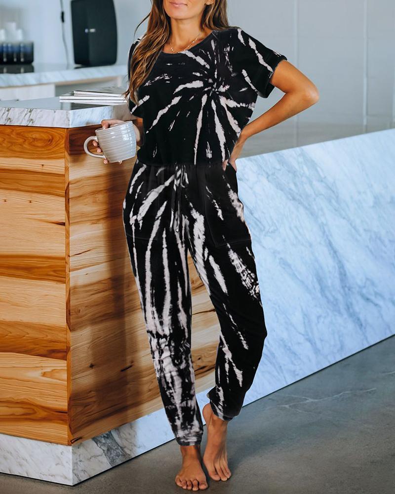 Tie Dye Print Short Sleeve Top & Pants Set фото