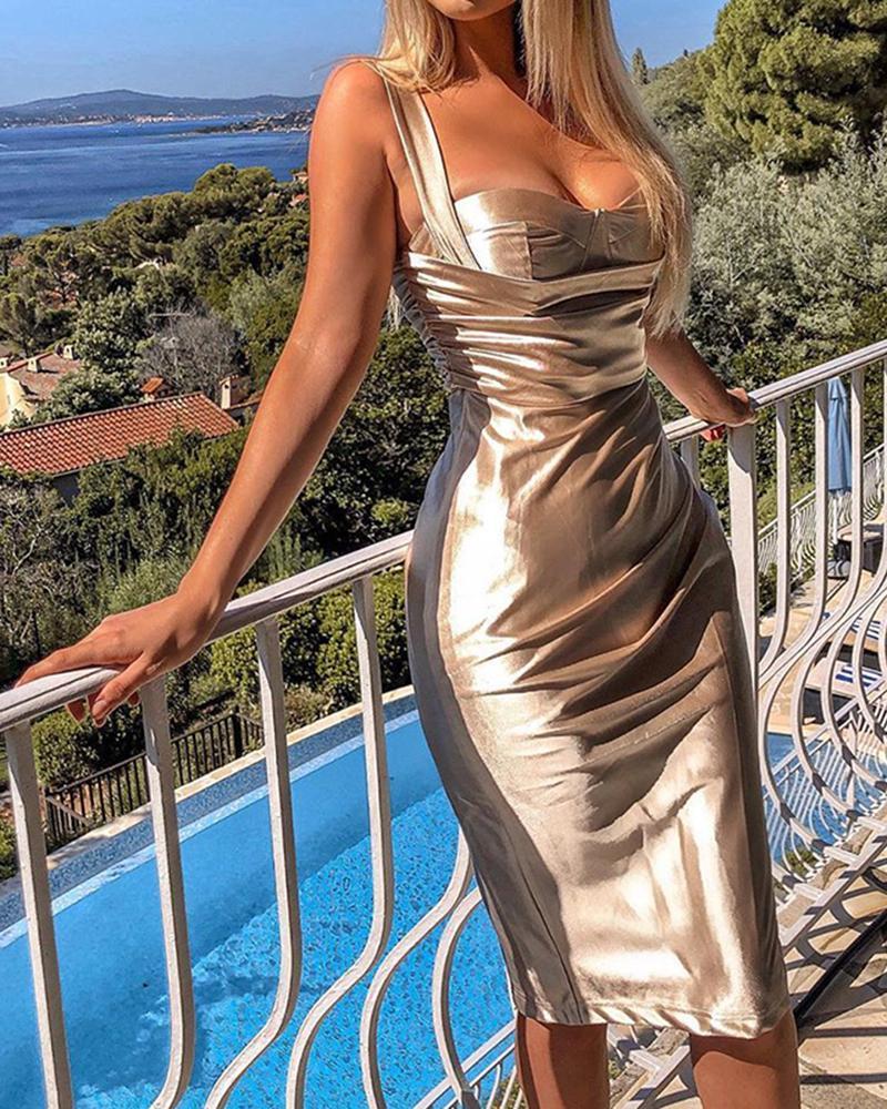 Metal Color Sweetheart Neck Midi Dress фото