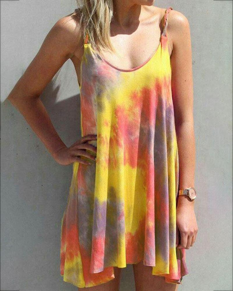 Tie Dye Print U-neck Casual Dress фото
