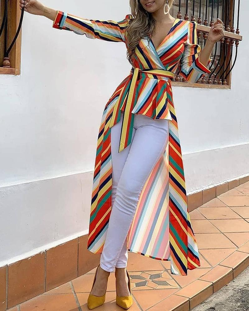 Colorful Striped Ruffles Dip Hem Blouse
