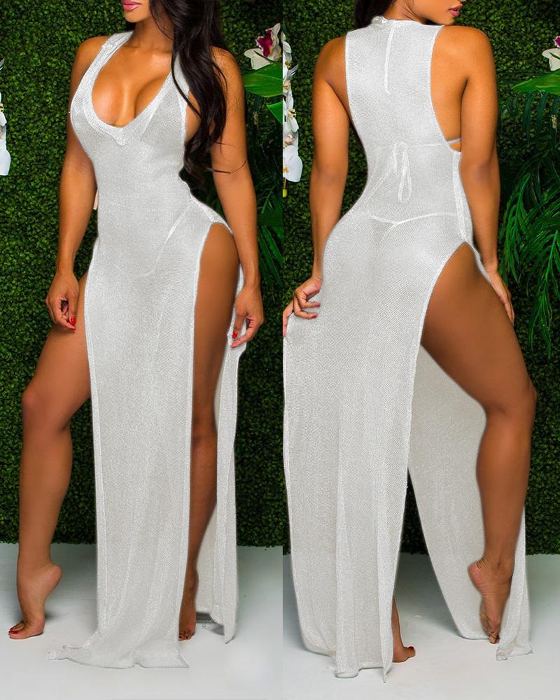 Sheer Mesh Sleeveless High Slit Maxi Dress фото