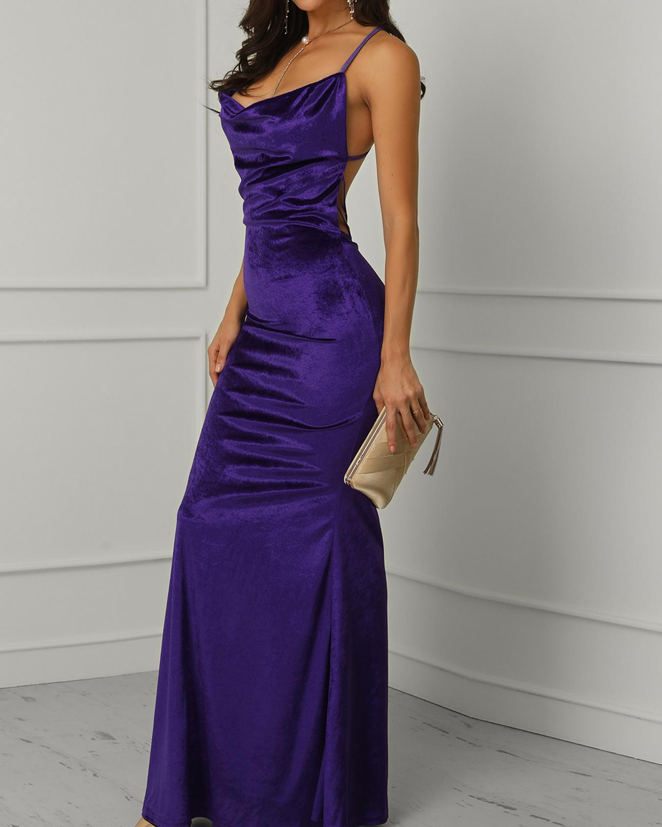 joyshoetique / Spaghetti Strap Crisscross Back Evening Dress