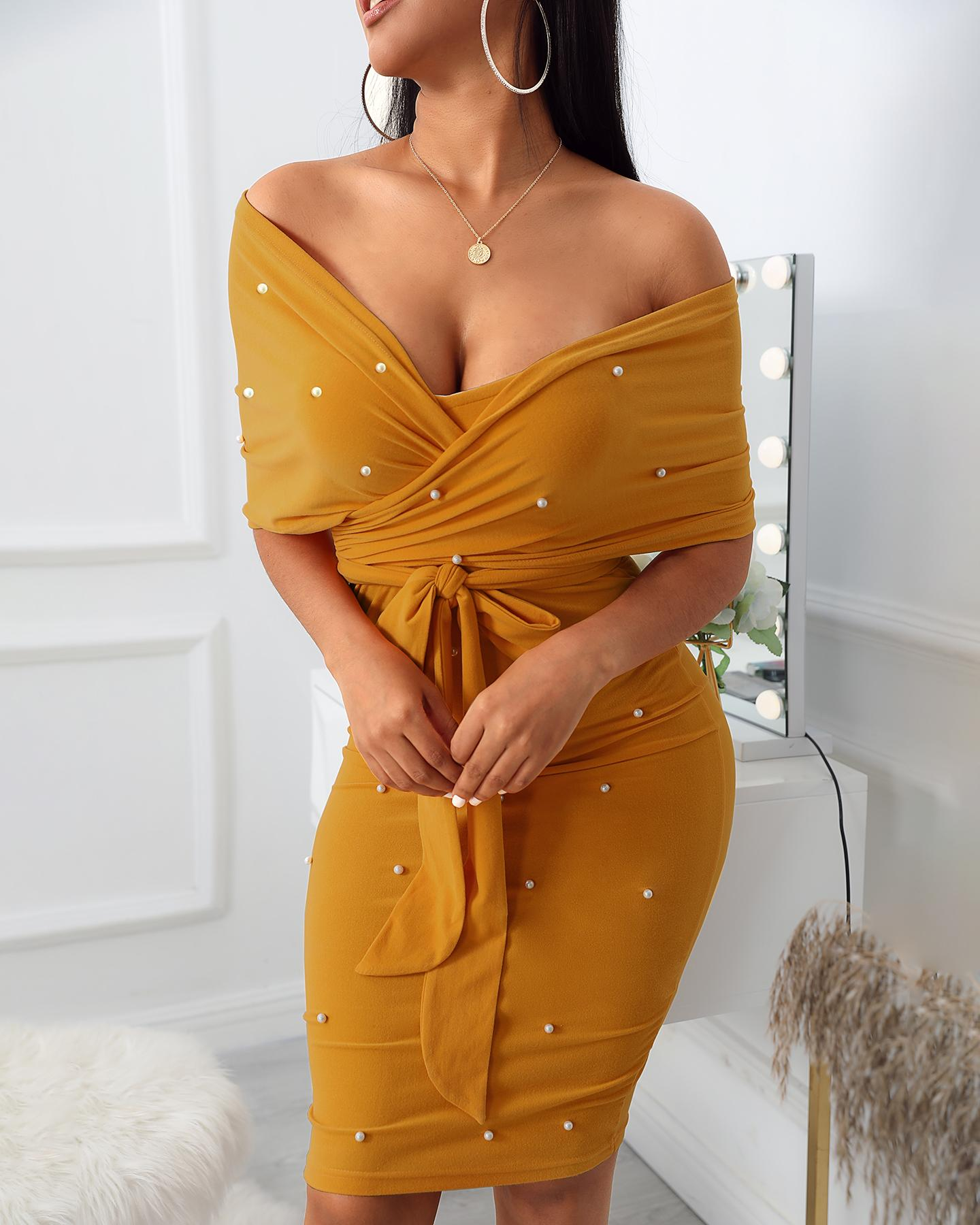 Beaded Off Shoulder Party Dress фото
