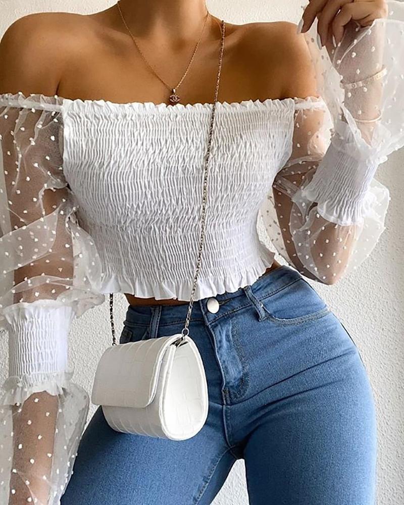 boutiquefeel / Blusa de lunares suizos con hombros descubiertos