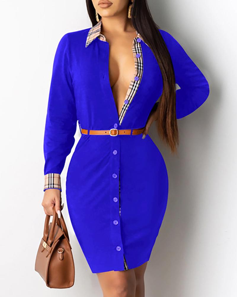 chicme / Vestido camisero con botones y diseño de cuadrícula