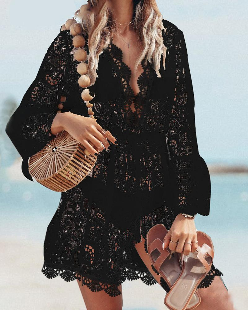 Hollow Out Crochet Lace Cover Up Dress фото