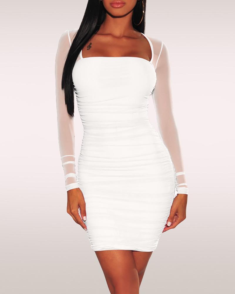 Solid Mesh Sleeve Bodycon Dress фото