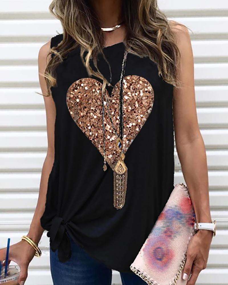 Heart Pattern Sequins Sleeveless Round Neck T-shirt фото
