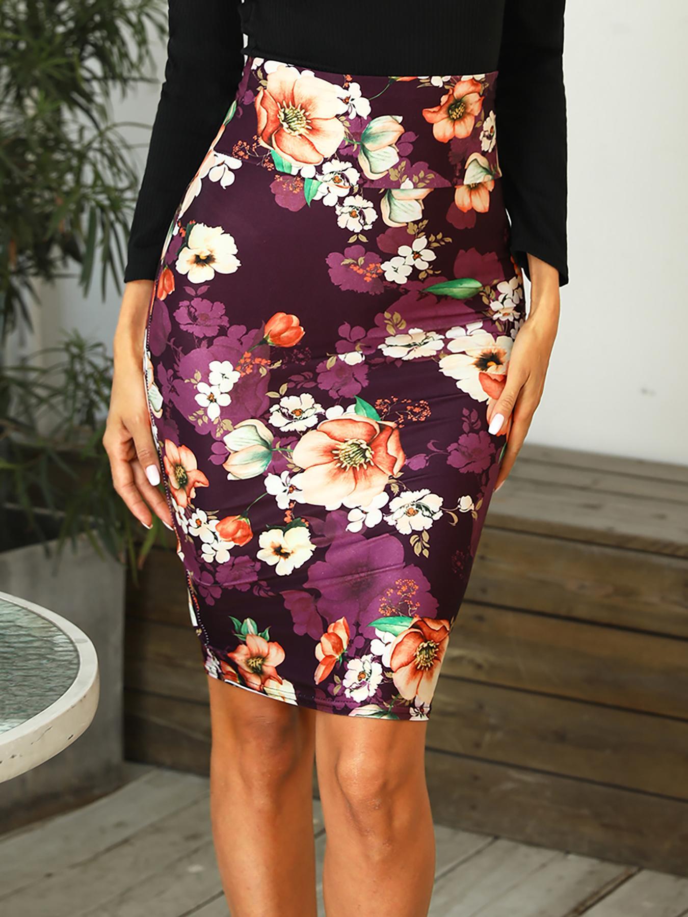 boutiquefeel / High Waist Floral Print Skinny Skirt
