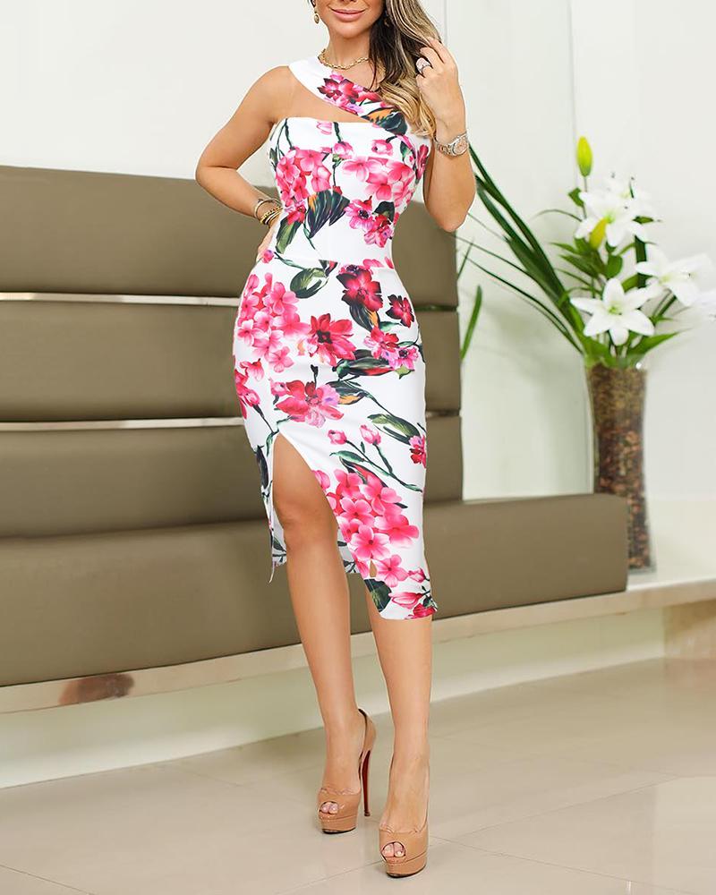 One Shoulder Floral Print Slit Bodycon Dress, joyshoetique, Multicolor  - buy with discount