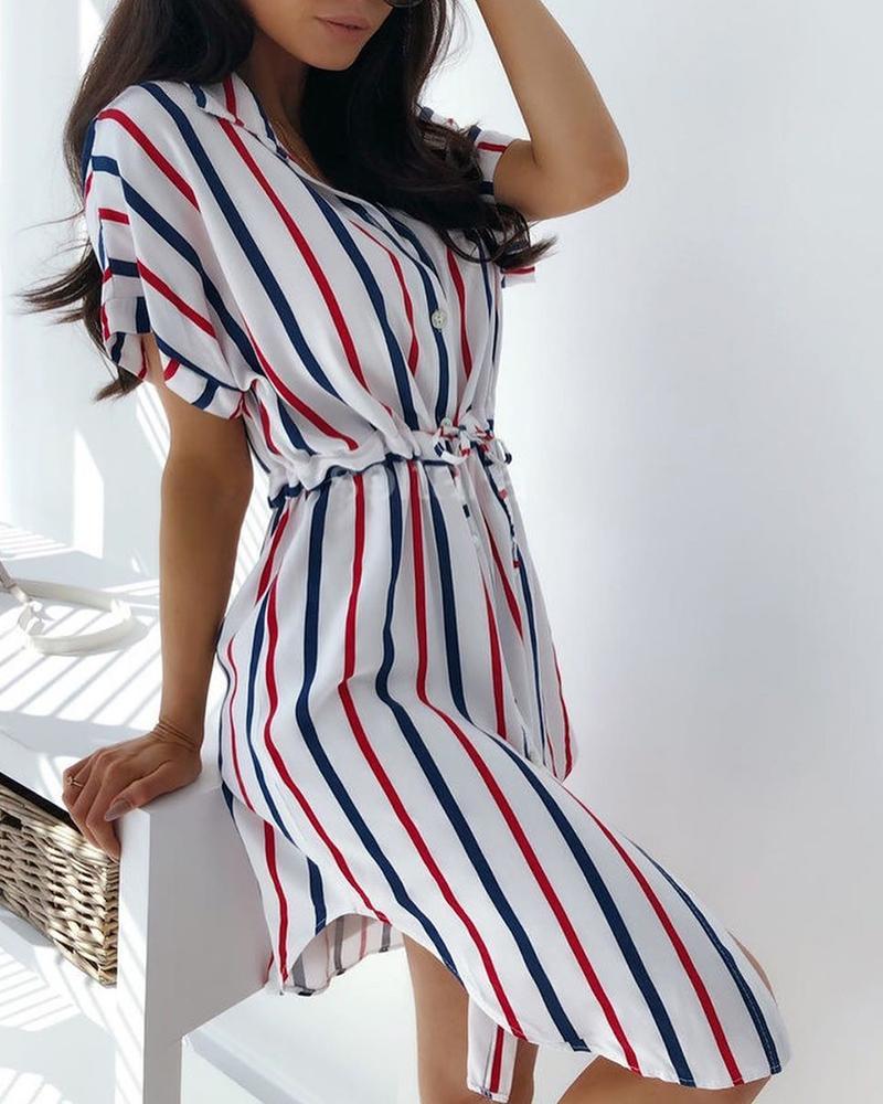ivrose / Vestido de camisa de cintura de lazo de rayas de colores