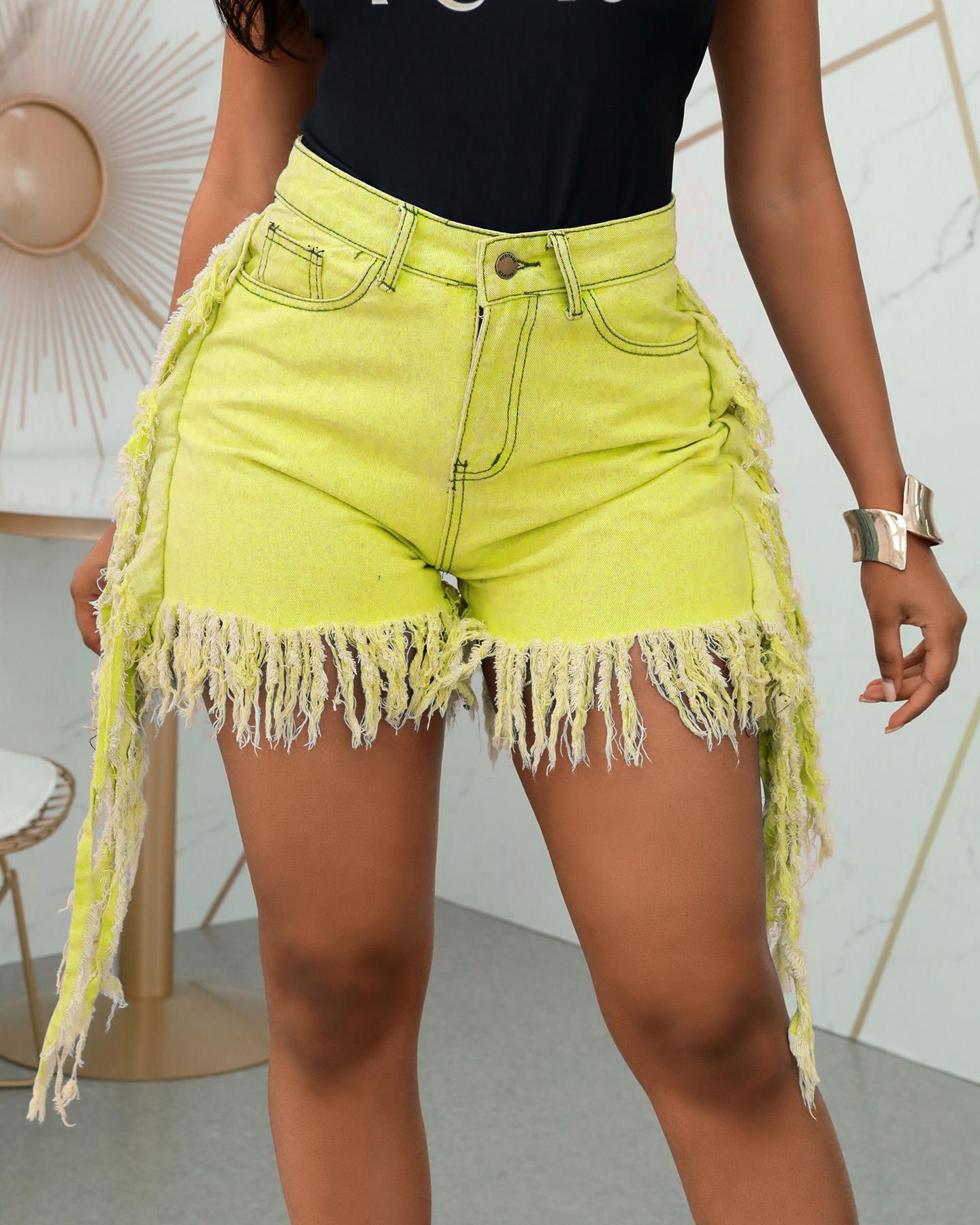 boutiquefeel / Shorts de mezclilla con borlas y bolsillo de cintura alta