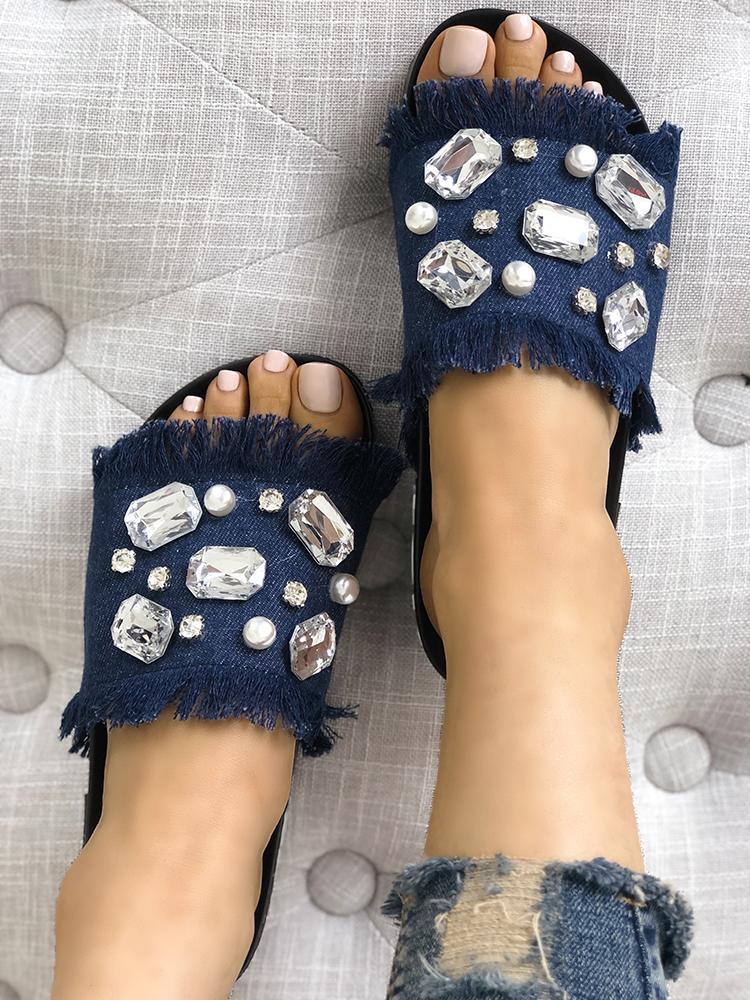 Denim Shiny Flat Tassel Non-Slip Slippers
