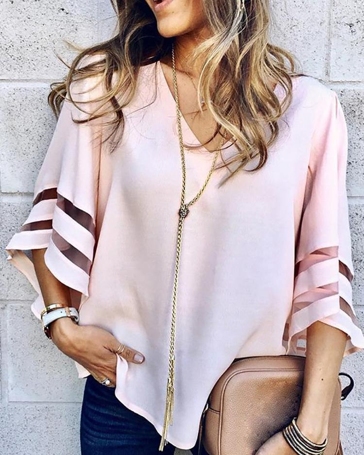 V-Neck Mesh Striped Insert Casual Blouse фото