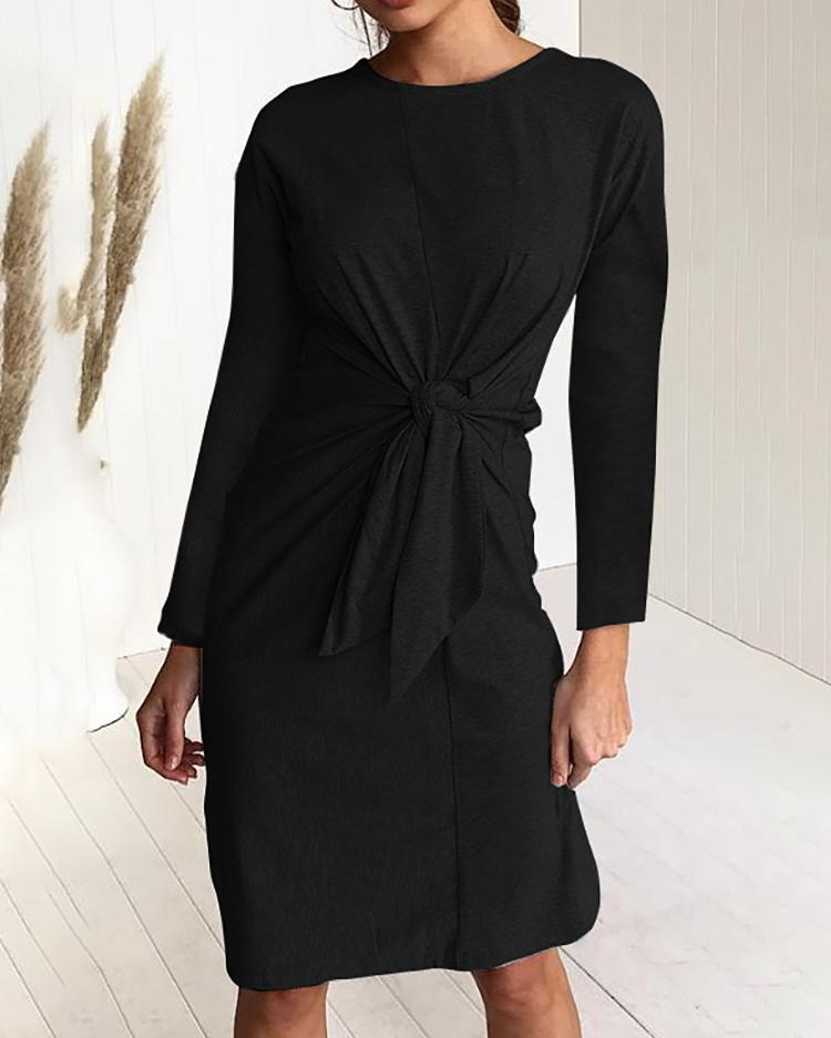Solid Long Sleeve Twisted Knot Front Casual Dress фото
