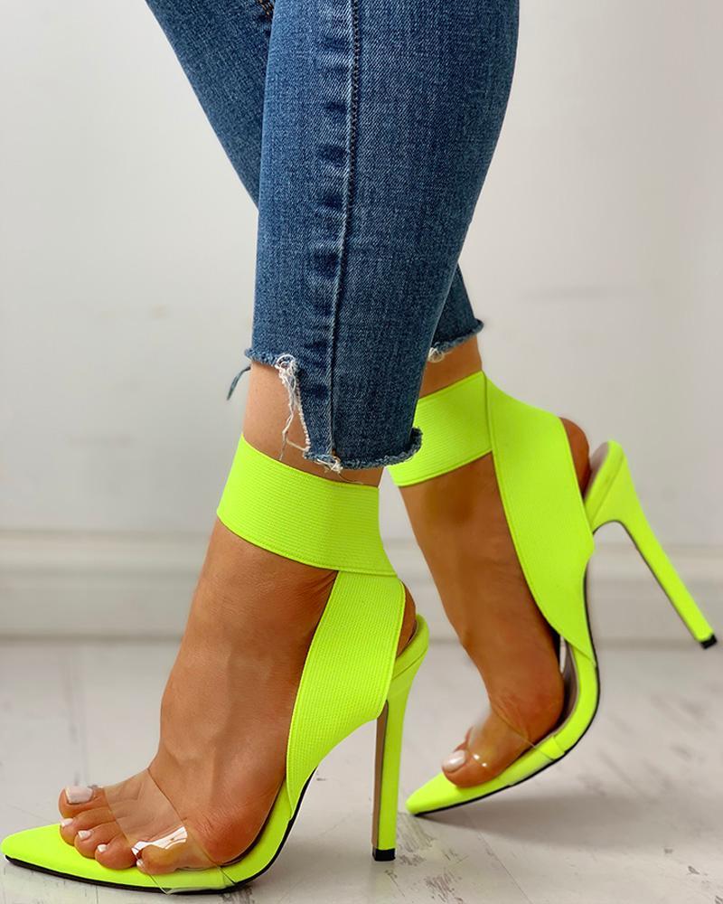boutiquefeel / Sandálias de Salto Grosso com Elástico Transparente