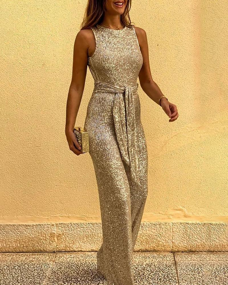 chicme / Glitter Round Neck Sleeveless Backless Sequins Jumpsuit