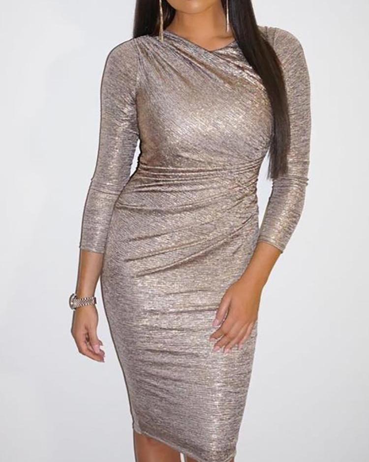 joyshoetique / Shiny Long Sleeve Scrunched Bodycon Dress
