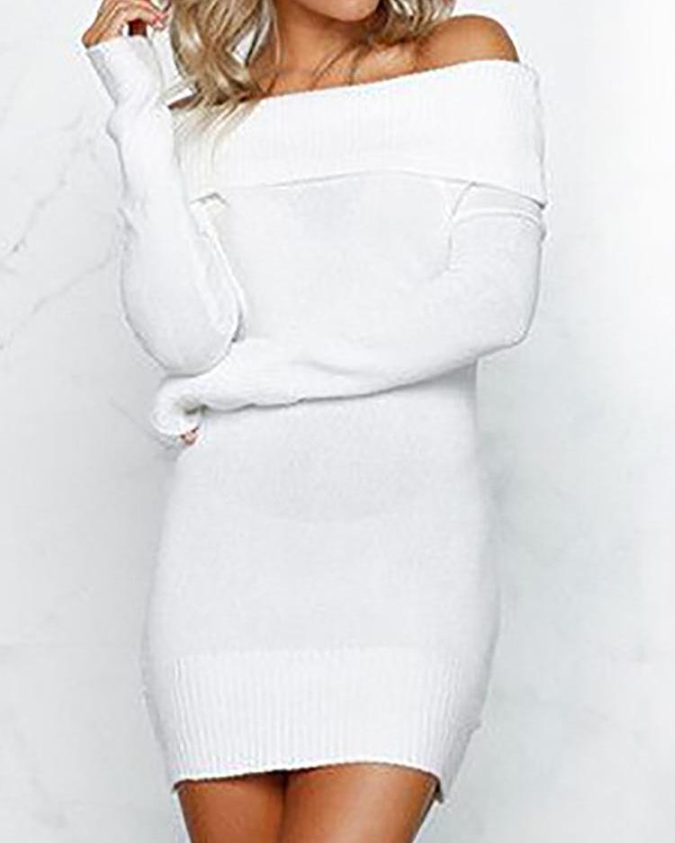 ivrose / Fold-Over Off Shoulder Bodycon Dress