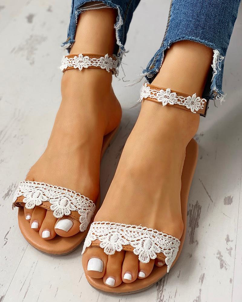 Lace Insert Open Toe Flat Sandals