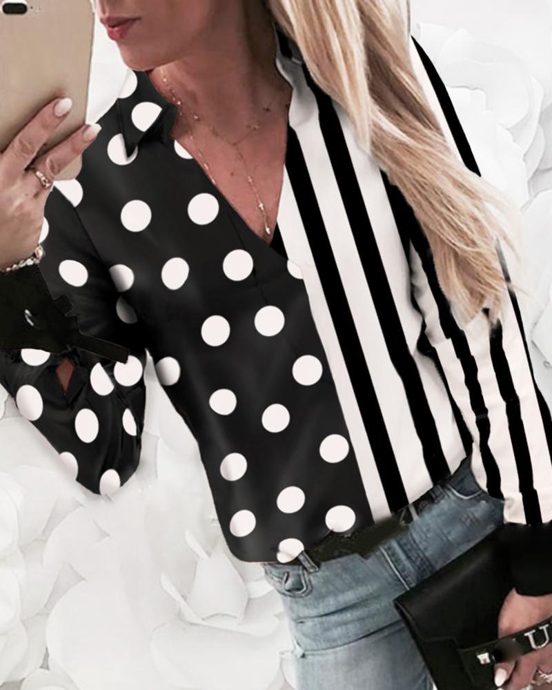 Striped Dot Print Insert Casual Shirt фото