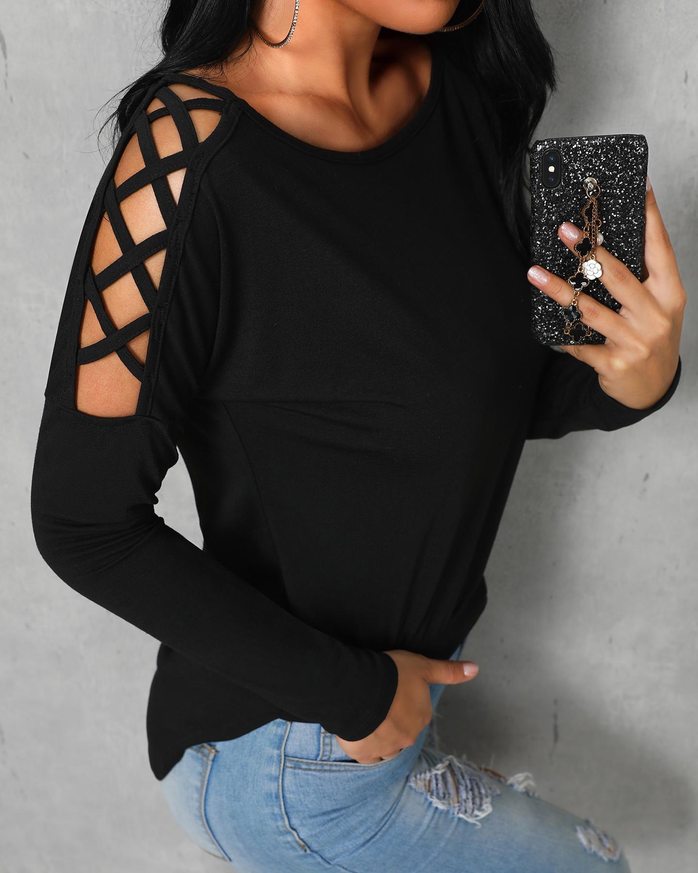 Sexy Black Lace-up Shoulder High-low Trim Top
