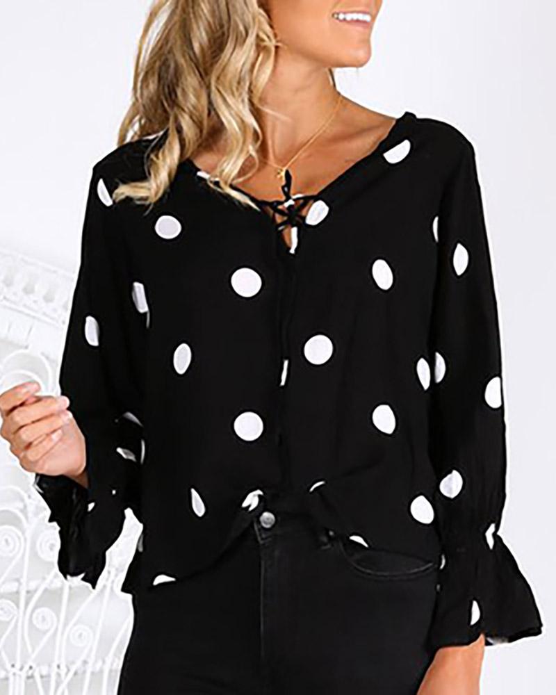 boutiquefeel / Dot Ruffles Cuff Amarrado Detalhe Blusa Casual