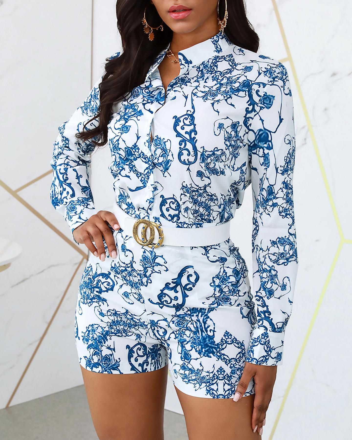 Print V-neck Long Sleeve Casual Top & Short Set фото