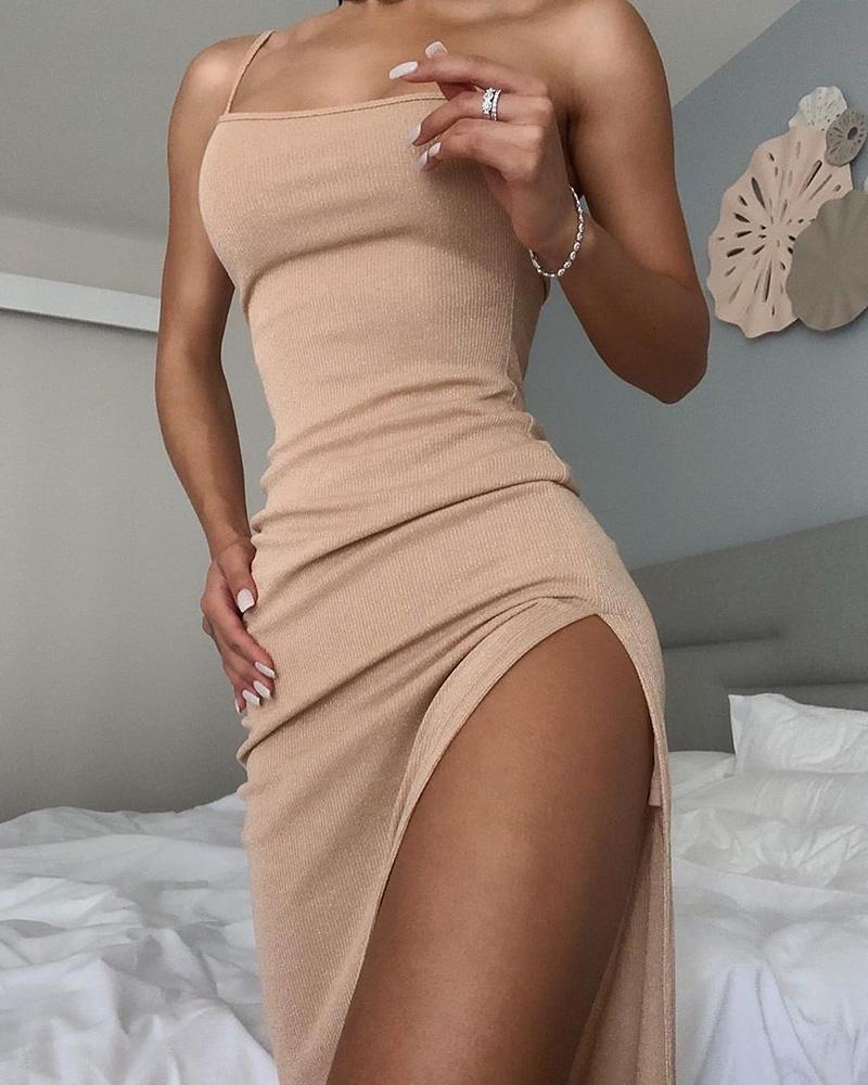 boutiquefeel / Vestido Midi com fenda e cinta de espaguete