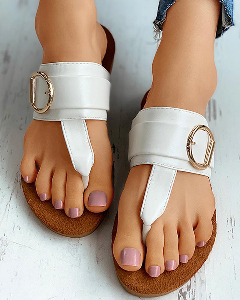 Toe Post Buckle Detail Flat Sandals фото