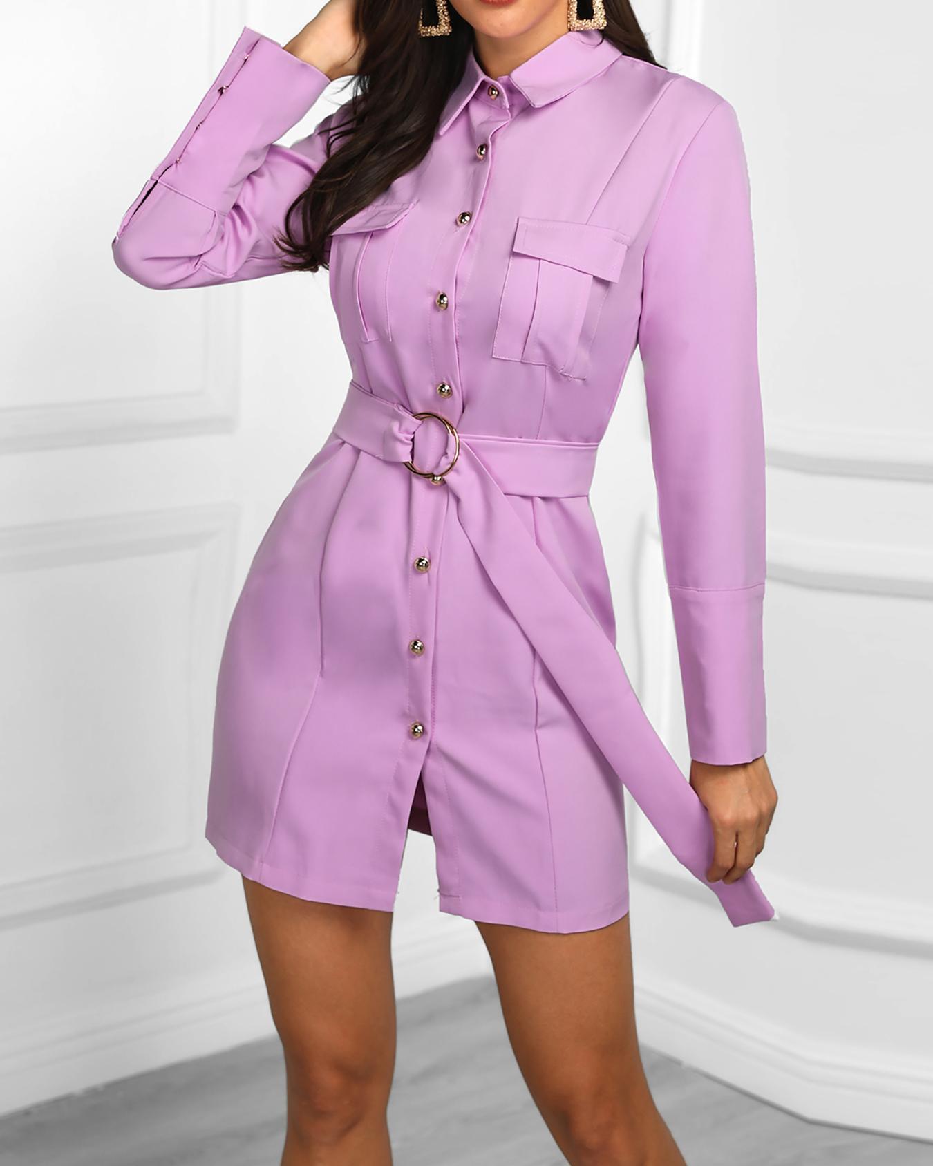 Long Sleeve Button Detail Belted Dress