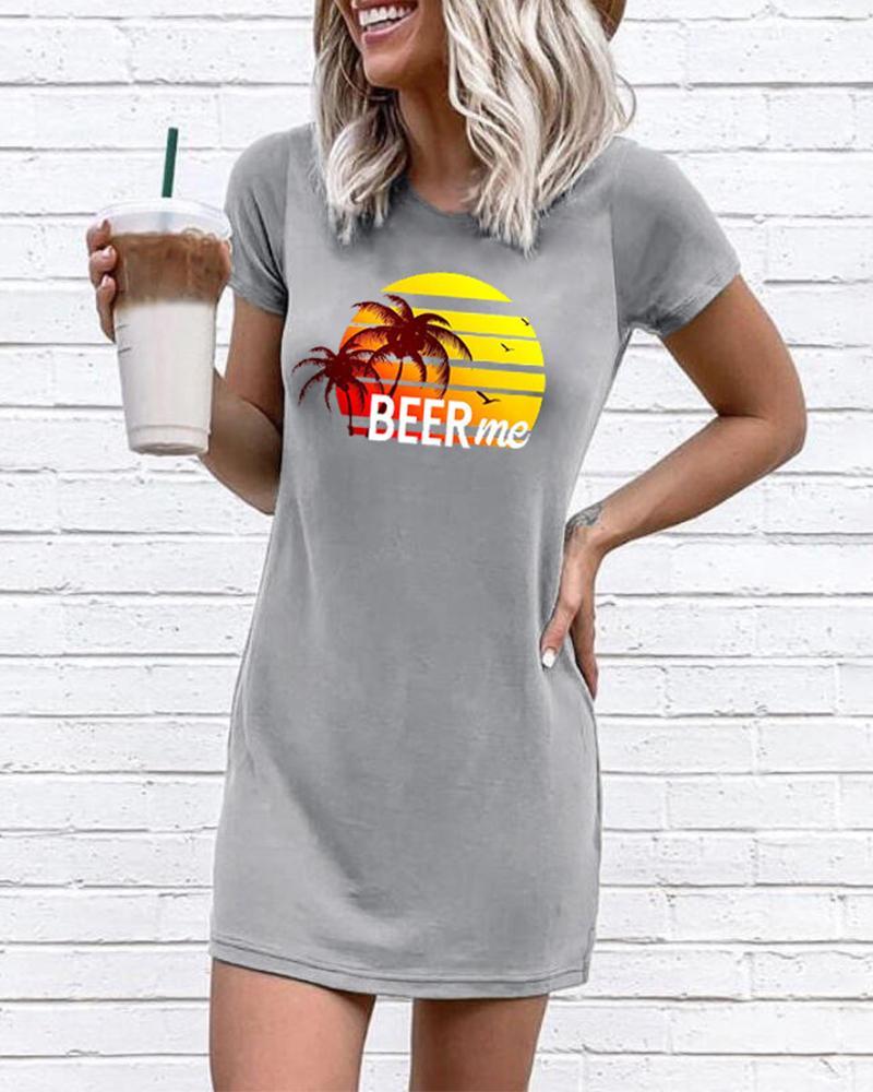 Beer Me Beach Print T-Shirt Dress фото