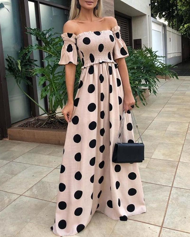 Polka Dots Off Shoulder Shirring Design Maxi Dress фото