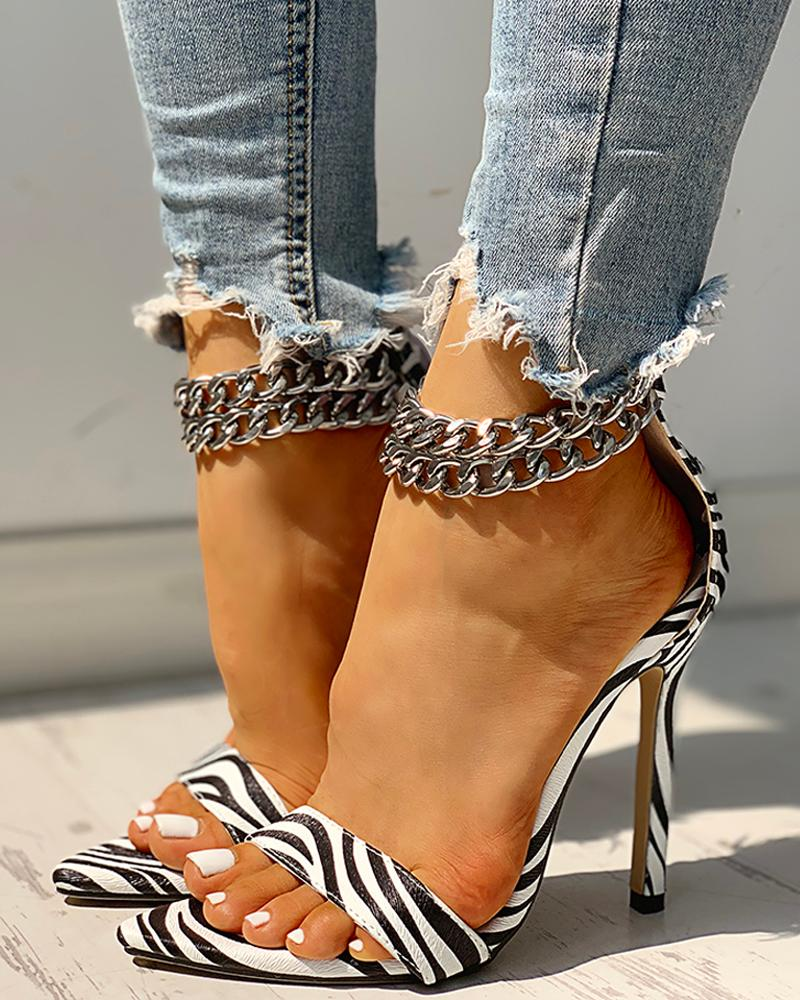 Chain Buckled Open Toe Thin Heeled Sandals, White