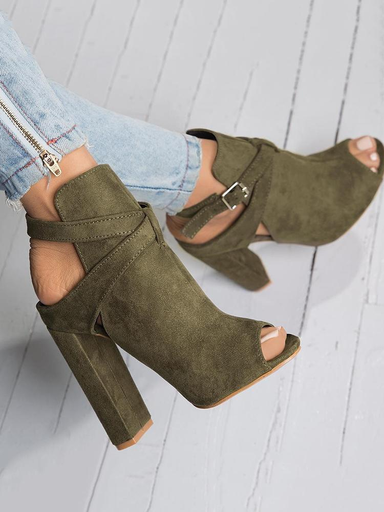 ivrose / Open Toe Slingback Chunky Heeled Pumps