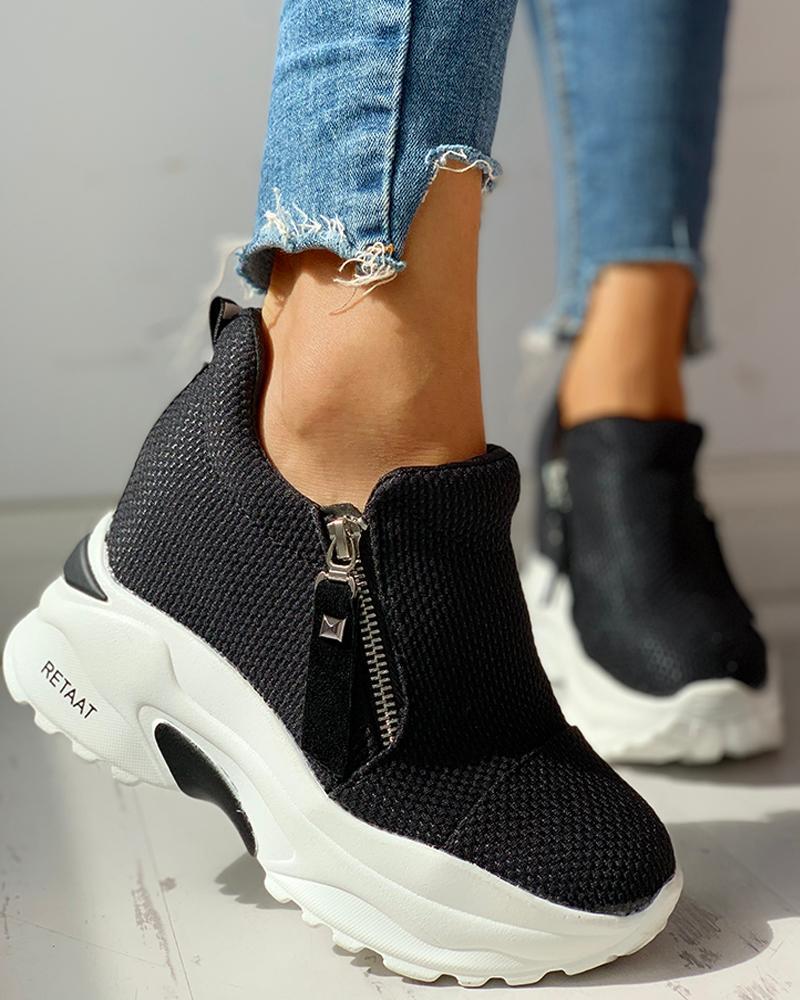 Zipped Design Platform Casual Sneakers фото