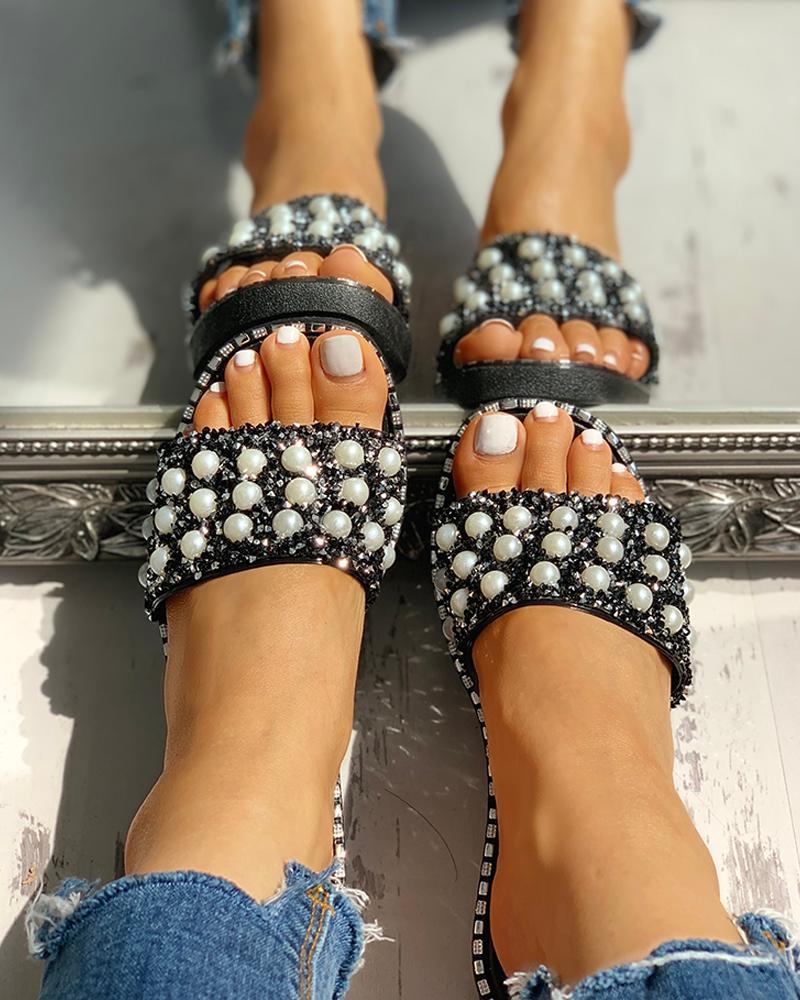 joyshoetique / Bead Studded Detail Flat Sandals