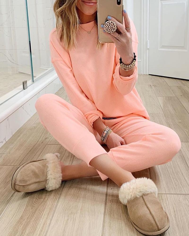 ivrose / Conjunto de calça e blusa de manga comprida sólida